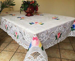 Image Is Loading Vintage Tulip Embroidered Battenburg Lace W Sheer  Tablecloth