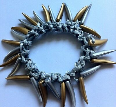 A Silver And Gold Shark Tooth Beaded Hair Bobble//Scrunchie