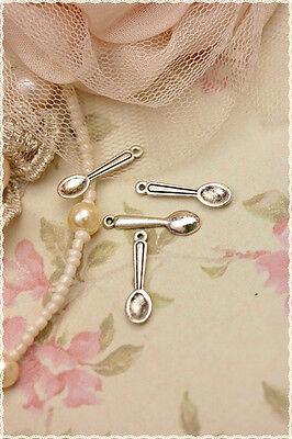 10pz Charm forchetta forchettine color argento 2,5x 0,7 cm x bracciali collane