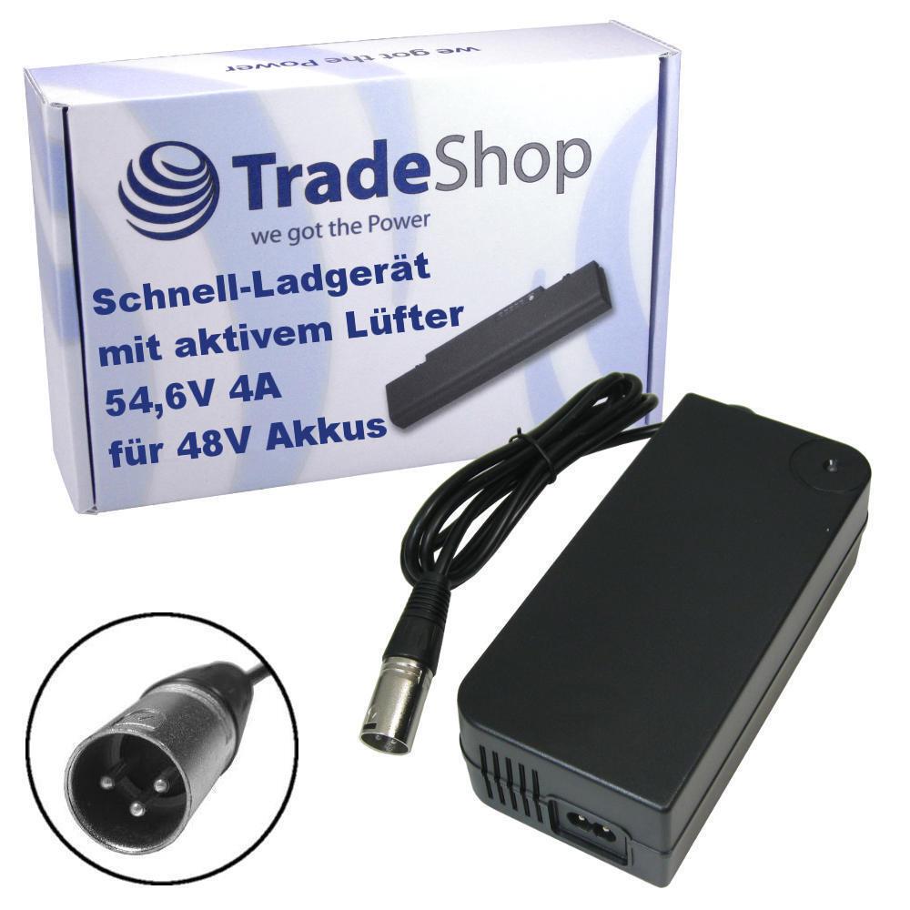 Trade-Shop Netzteil Ladegerät Ladekabel 4A 54,6V für 48V Pedelec ERoller Fahrrad