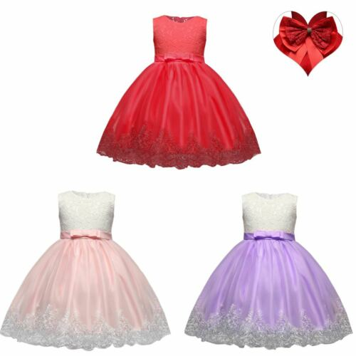 Girl Flower Lace Dress Toddlers Pageant Wedding Bridesmaid Party Tutu Prom Gown