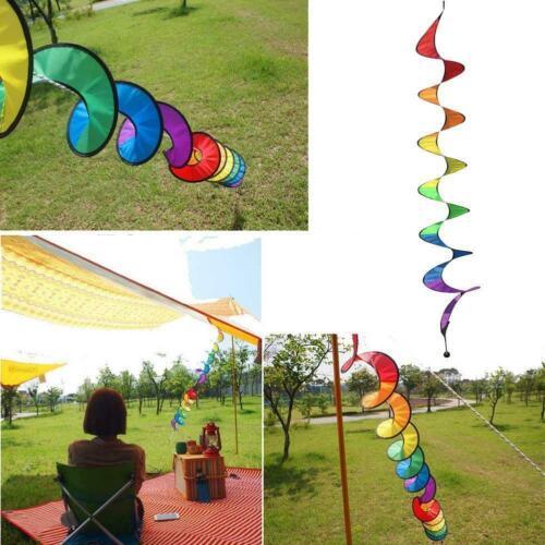 Foldable Rainbow Spiral Windmill Wind Spinner Camping Dlxd Home Garden De E9W2