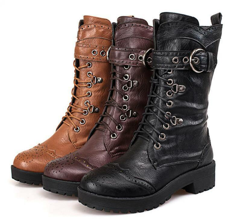 EU Fashion Women Motorcycle Boots Belt Buckle Lace Up Mid-calf Boots shoes  1