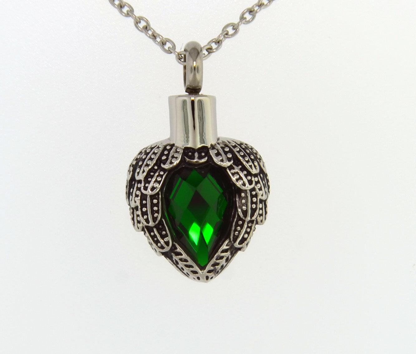 Alas De Ángel envuelto alrededor de piedra de color verde esmeralda Cadena Colgante de cremación