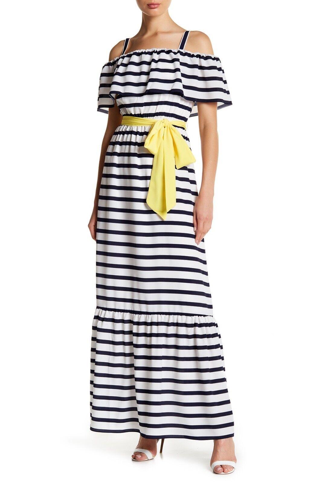 Eliza J Women's Ruffle Cold Shoulder Striped Maxi Dress Navy Ivory Size 8