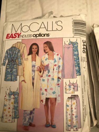 McCalls Sewing Pattern 3446 Donna nightwear pigiama Robe XS S M L XL