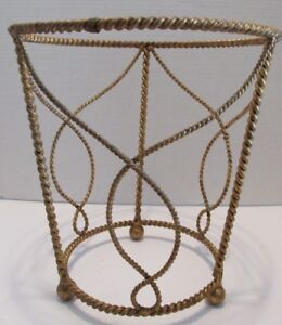 Florentine-WASTE-Trash-CAN-s-Gold-Gilt-ROPE-TWIST-Hollywood-Regency-Italy-Tags