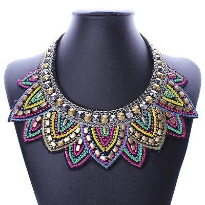 Colorful Ethnic Bohemia Millet Bead Chunky Bib Necklace Women Statement Jewelry