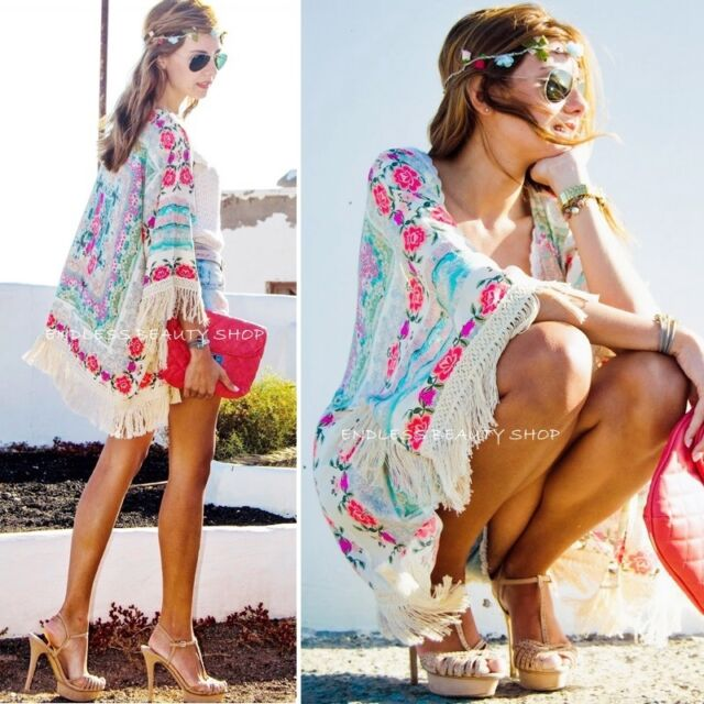 New Women Boho Fringe Floral Kimono Cardigan Tassels Beach Cover Up Cape Jacket