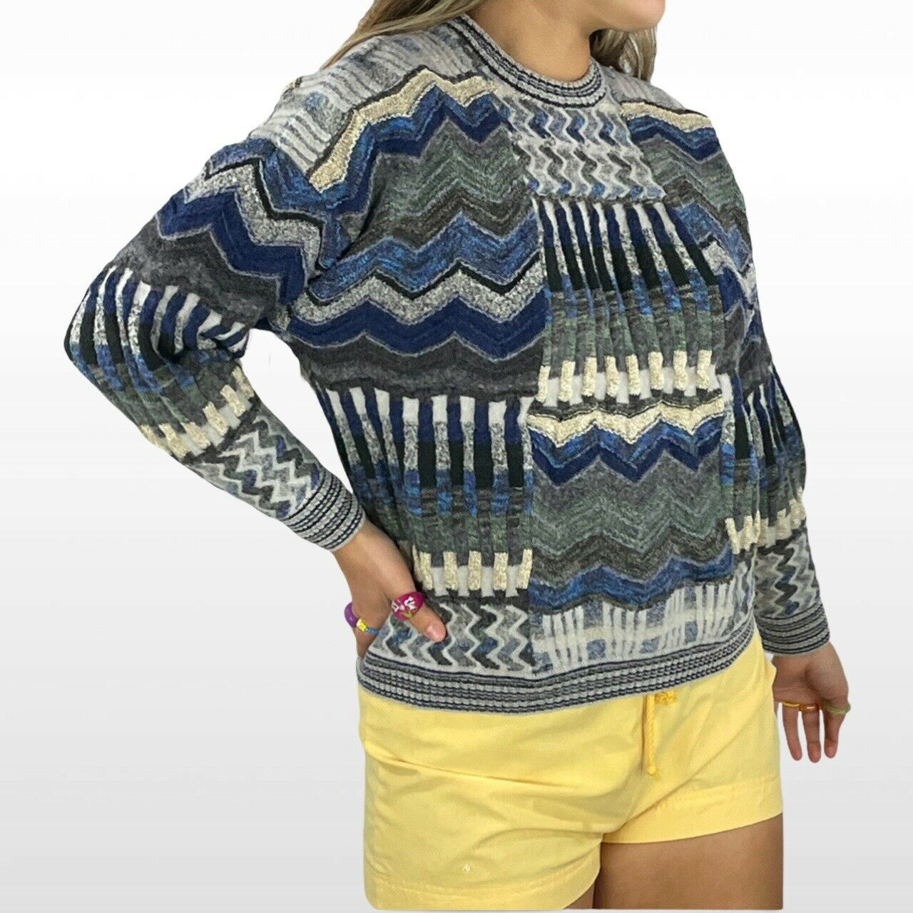 Abstract textured knit sweater - image 1