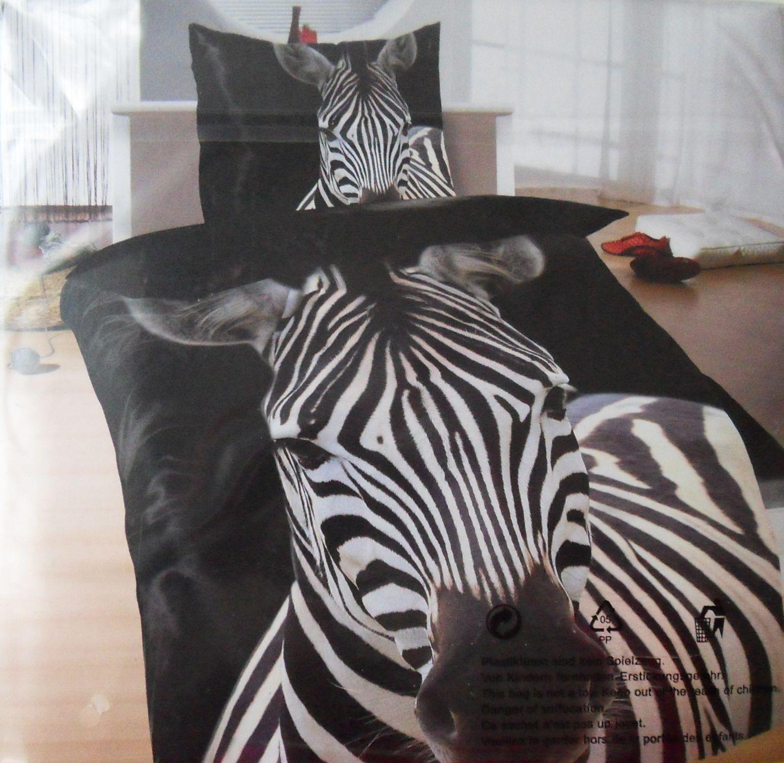 4 tlg. Bettwäsche  Zebra schwarz     leichtes warmes Thermofleece 135 x 200cm f6af82