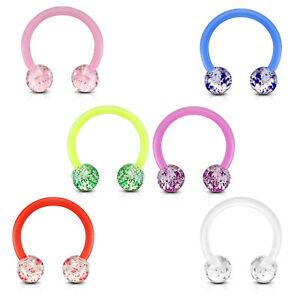 Details About Bioflex Lip Piercing Horseshoe Piercing Glitter Acrylic Septum Ear Z528