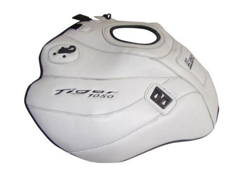 Triumph Tiger 1050 ≥2007 Top Sellerie fuel Petrol Gas Tank Cover White Black