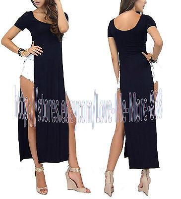 WOMENS high side slits LONG MAXI CASUAL BEACH summer BASIC TEE DRESS black S-4XL