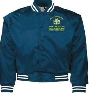 NAVAL AIR STATION JRB FORT WORTH TEXAS NAVY EMBROIDERED 2-SIDED SATIN JACKET