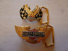 1983 - TWO - SOLID BRASS GOLD PLATED HARLEY DAVIDSON SMALL DRESS BUCKLES