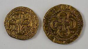 Pair of Spanish Gold Doubloons - Coins/Pirates/<wbr/>Treasure/Spani<wbr/>sh/Gift/Presen<wbr/>t
