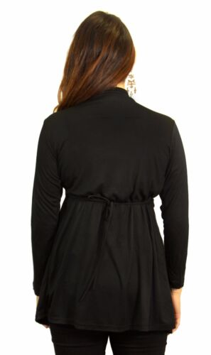Black Long Sleeve Solid Colar Exposed V-Neck Fashionable  Maternity S M L XL