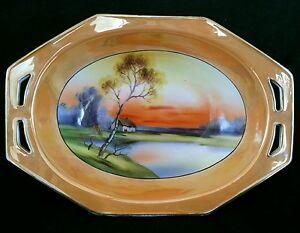 Antique Nippon Japan hand painted lake scene bowl marked M Morimura Bros 1910