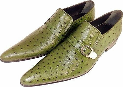 Original Chelsy - Italienischer Designer Slipper Straußenmuster Schnalle grün 41    | Ein Gleichgewicht zwischen Zähigkeit und Härte