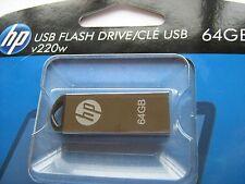 HP USB Flash drive 64GB V220W Metallic Silver Genuine HFPD220W-64 New