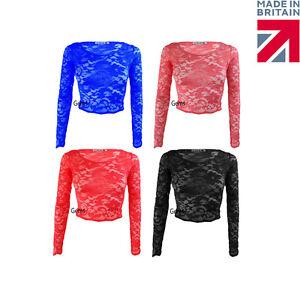 Women-039-s-Ladies-Lace-Scallop-Edge-Long-Sleeve-Crop-Top-Vest-T-Shirt-Sizes-8-14