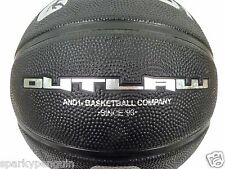 AND1 OUTLAW FULL SIZE 7 PREMIUM BASKETBALL IN BLACK WITH FREE INFLATOR ADAPTOR