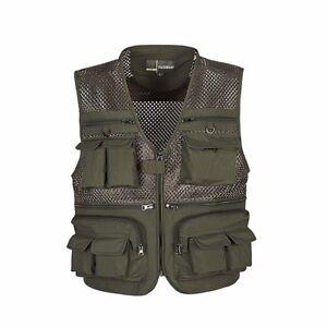 Green-XL-Men-Travel-Quick-Drying-Multi-Pocket-Mesh-Vest-Waistcoats-Mesh-Jin20