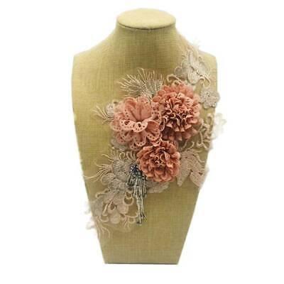 3D Flower Trim Lace Embroidered Collar Neckline Applique Clothes Patch Craft KV