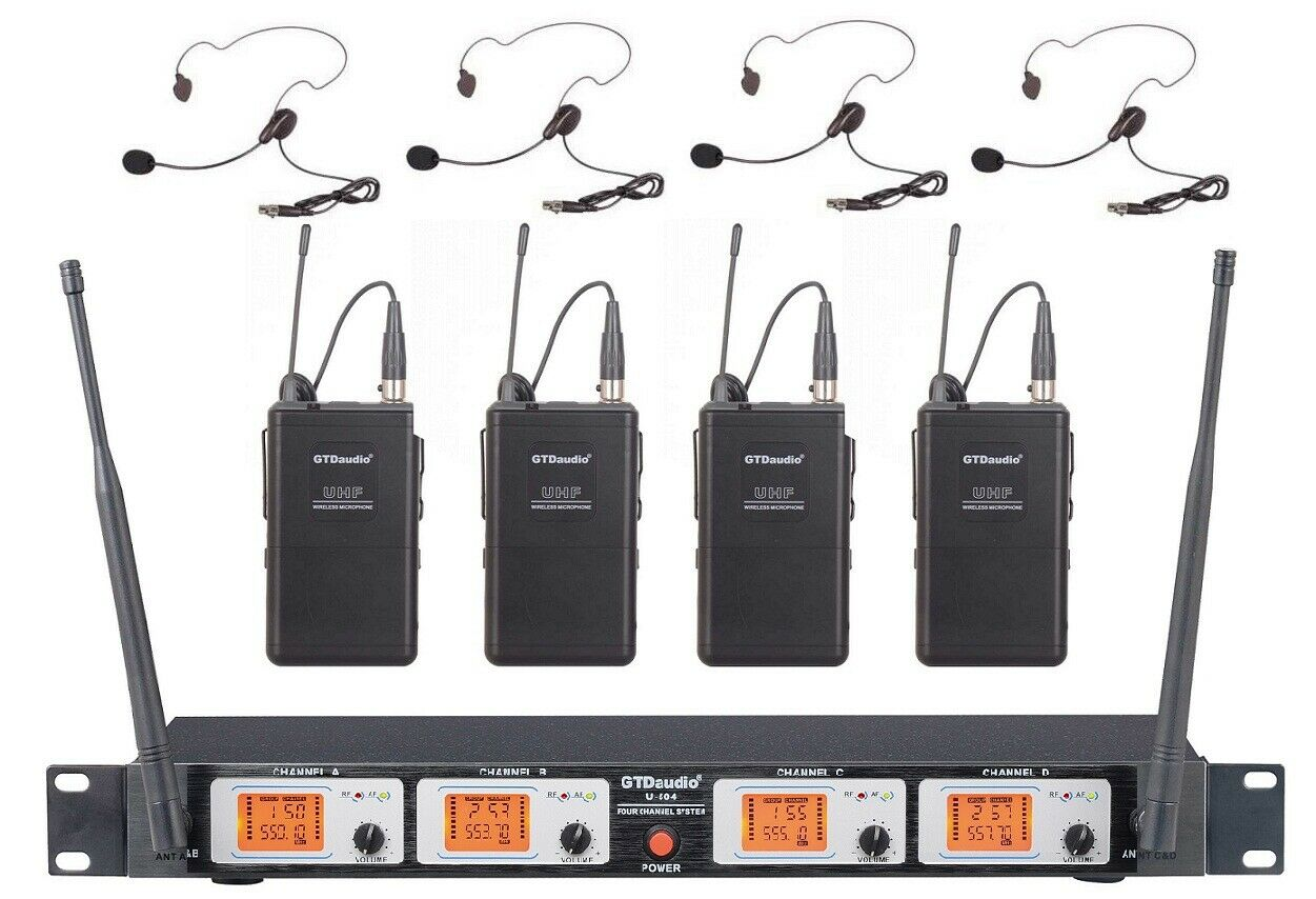 GTD Audio 4 Ch UHF Lavalier Revers Headset Wireless Microphone System Mic 504L