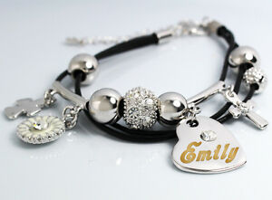 White gold charm name emily bracelet birthday christmas easter image is loading white gold charm name emily bracelet birthday christmas negle Gallery