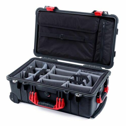 Estuche Negro y Rojo Pelican 1510 con acolchado divisores y bolsa de tapa de la computadora gris