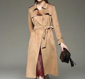 trench soprabito scamosciata in lungo risvolto pelle coat donna vento cintura giacca a Elegante da con Cwqvgv