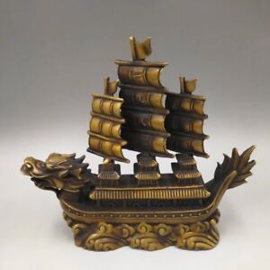 Chinese-Antique-Brass-sculpture-dragon-boat-sailboat-Home-decoration