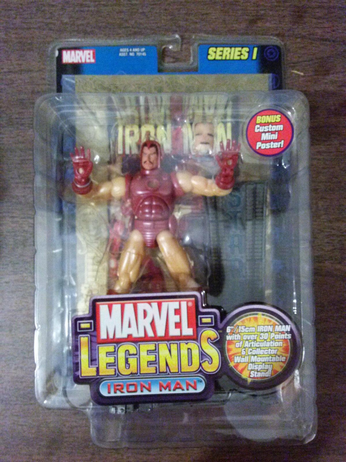 Marvel - legenden  iron man abbildung blattGold poster toybiz neue