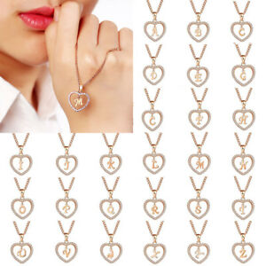 Fashion-Women-Crystal-Gold-Alphabet-Letter-A-Z-Love-Heart-Pendant-Chain-Necklace