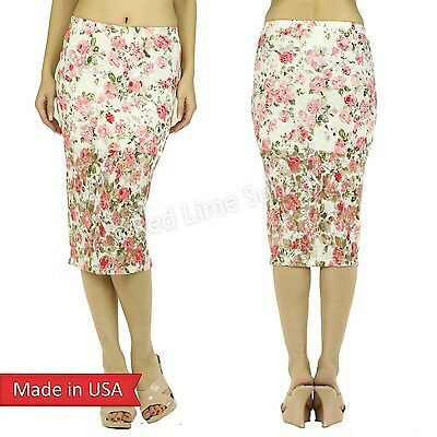 Sweet Valentine Outfit Floral Embroidered Mesh Pink Flower Print Pencil Skirt US