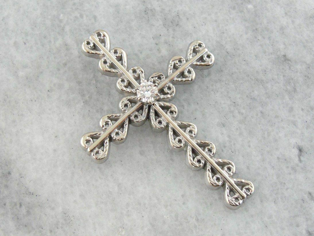 Bold, Ornate Style Diamond Cross Pendant in White gold