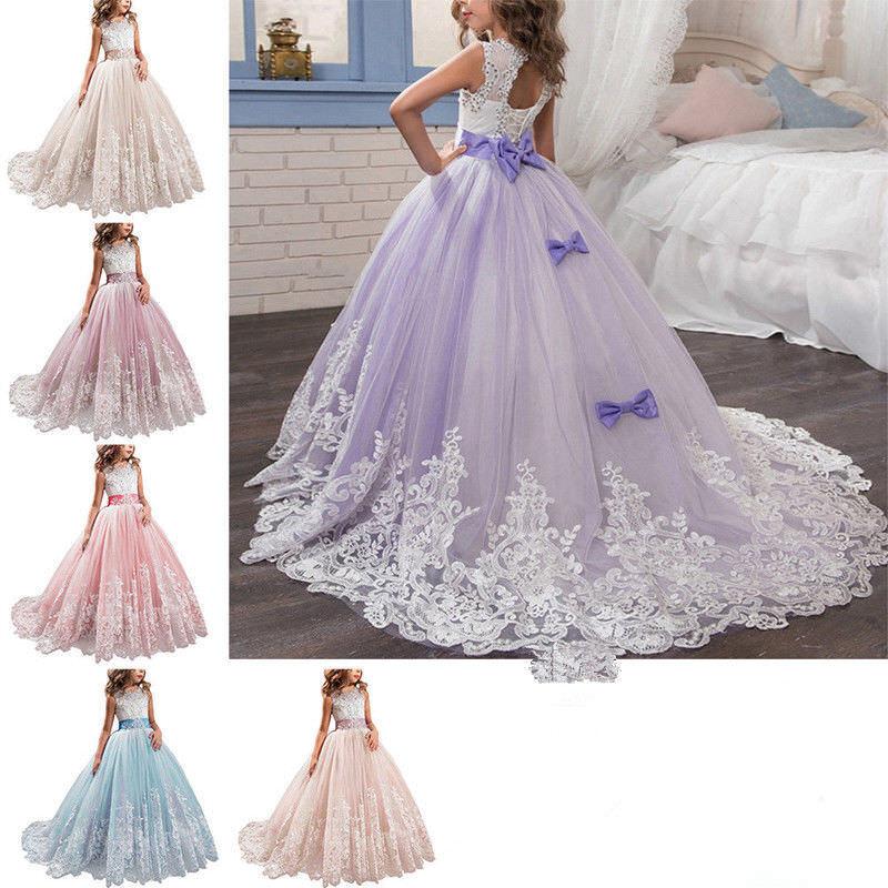 Flower Girl Dress Vintage Long Princess Graduation Prom Formal Party Dresse Kids