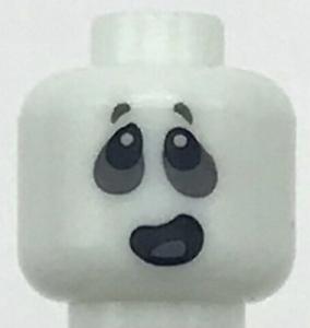 Lego New Minifigure Head Alien Ghost with Dark Bluish Gray around Eyes and Open