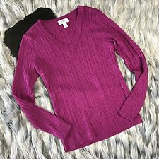 Ann Taylor LOFT sz Medium Petites Long Sleeve Cable Knit V-Neck Sweater Magenta