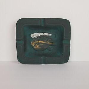 Mid-Century-Ashtray-Fish-Iron-Bronze-Japan-Art-Sculpture-Trinket-Dish-Vintage