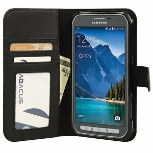 Abacus-24-7-Black-PU-Flip-Wallet-Cover-Case-for-Samsung-Galaxy-S5-Active-Phone