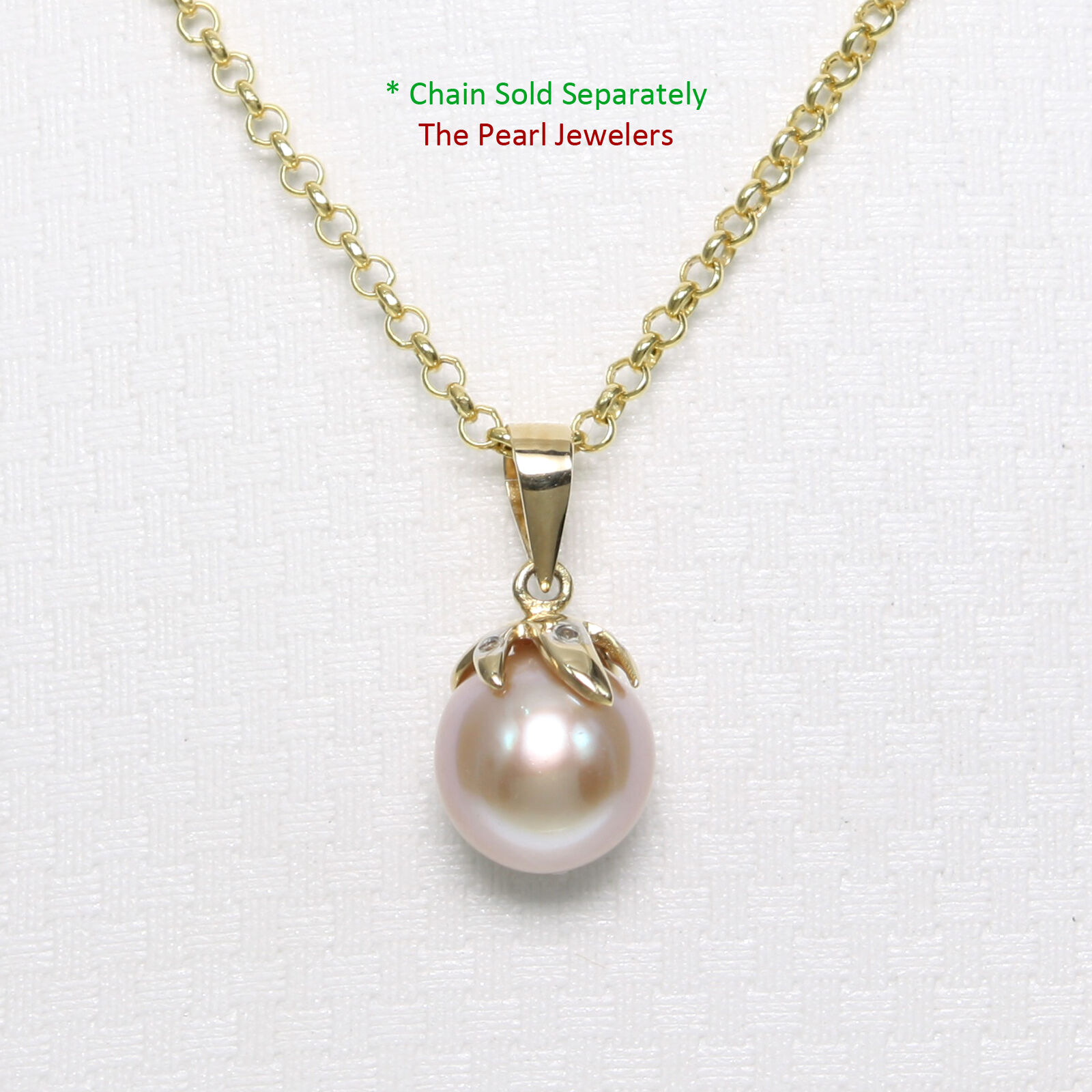 14k Yellow gold Claw Bail Diamond & Genuine Lavender Cultured Pearl Pendant .68