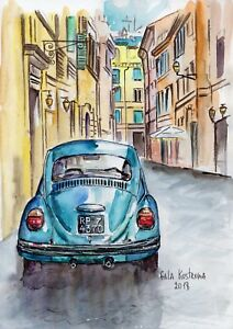Old-Car-original-Gala-Kostroma-city-landscape-watercolor-painting-street-town