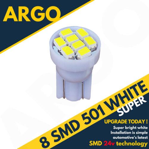 24v Côté Lumière 507 501 W5W 8 SMD LED Blanc Hella Spot Capless Ampoules Hgv