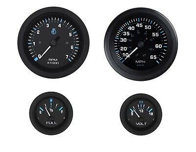 Voltmeter /& Fuel Gauges Sierra International Eclipse 4-Gauge Outboard Kit Includes Speedometer Tachometer