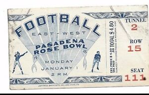1945-Rose-Bowl-football-ticket-USC-Trojans-Tennessee-Volunteers-crease-residue