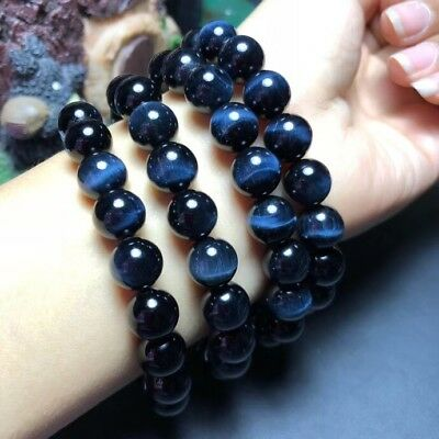 Natural Blue Tiger/'s Eye Gemstone Round 3 Laps Beads Bracelet 6mm