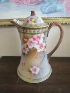 Nippon en porcelaine peinte à la main chocolat pot moriage Vert Wild Roses Rose-afficher le titre d`origine fCGaVpfw-09091606-902210819